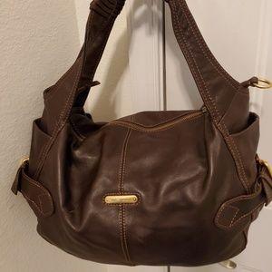 Via Spiga Brown Leather Shoulder Handbag.